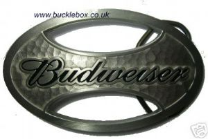 OFFICIALLY LICENSED BUDWEISER OVAL belt buckle + display stand